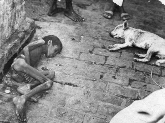 Niño bengalí muerto junto a un perro, ambos por falta de alimentos.